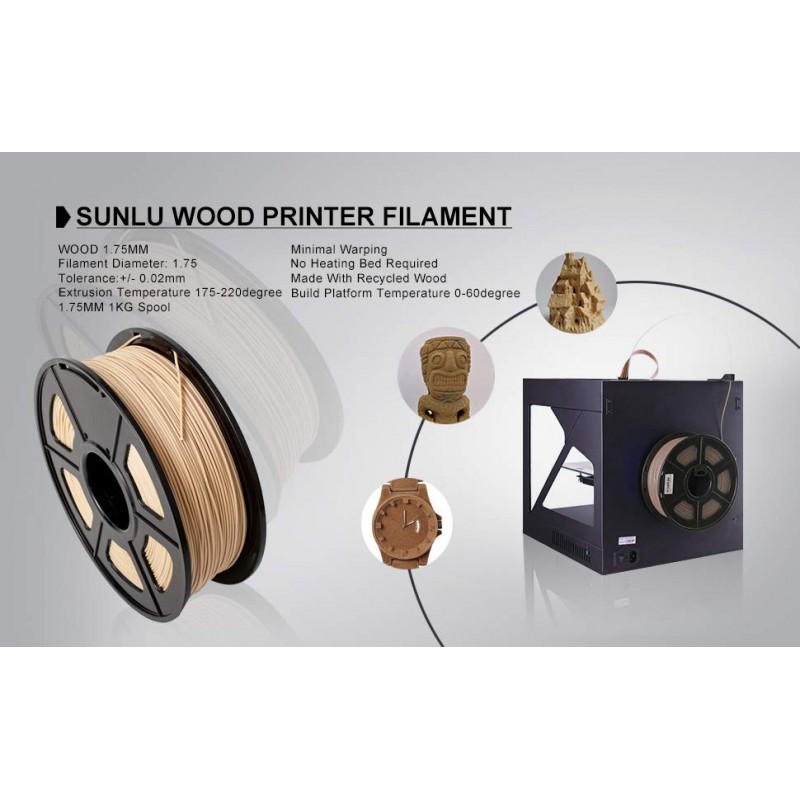 Filamento de madera para impresora 3D de 1.75
