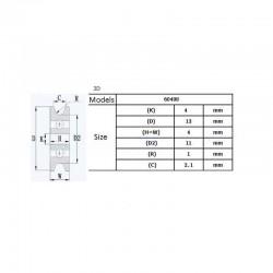 Guia de extrusor impresora 3D 4*13*4mm